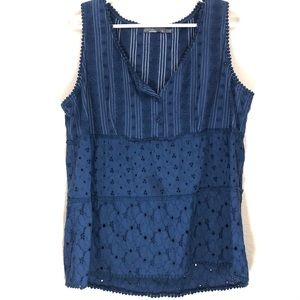 Prana Navy Eyelet Lace Crochet Detail Tank Top